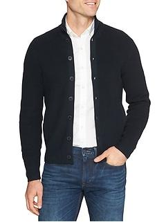 Rib Full Button Mock Jacket