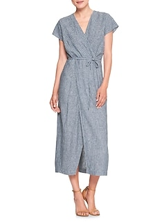 Petite Linen Stripe Wrap Dress