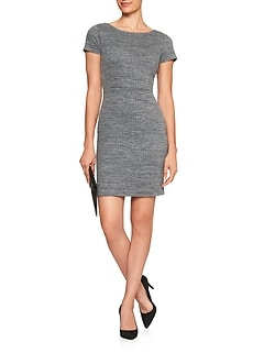 Stretch Tweed Scoop Back Sheath Dress