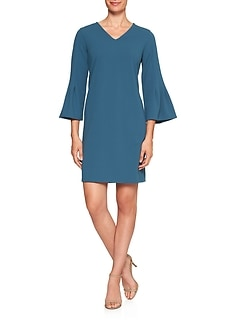 Pleat-Sleeve Stretch Shift Dress