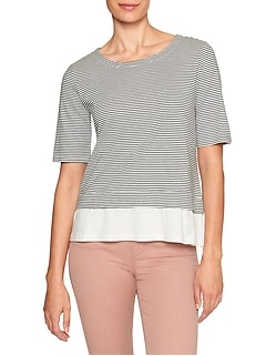 Stripe Ruffle Hem Designer T Shirt