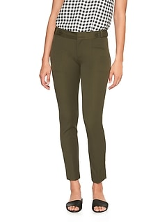 Sloan Button Tab Slim Ankle Pant