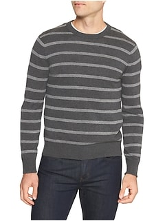 Birdseye Stripe Crew Neck Sweater