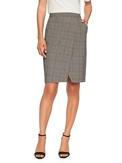 Plaid Wrap Pencil Skirt