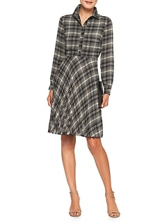 Print Pleat Shirtdress