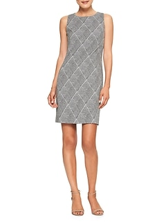 Petite Menswear Plaid Stretch Shift Dress