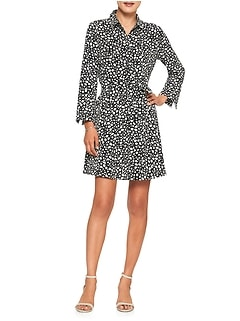 Petite Print Tailored Shirtdress