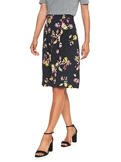 Petite Pleat Front Midi Skirt