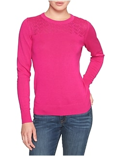 Machine Washable Forever Yoke Crew Neck Sweater