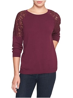 Petite 3/4 Sleeve Lace Shoulder Top Sweater