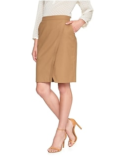 Petite Machine Washable Brushed Twill Wrap Suit Pencil Skirt