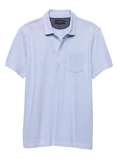 Moisture Wicking Mini Stripe Pique Polo
