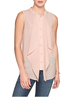 Petite Cascade Placket Top