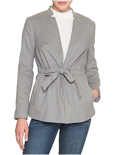 Petite Inverted Collar Tie Waist Blazer