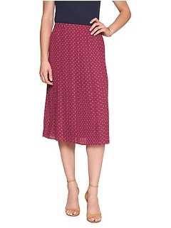 Petite Print Pleated Midi Skirt
