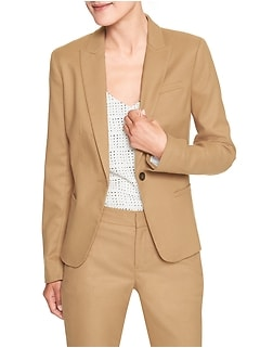 Petite Machine Washable Brushed Twill Classic Suit Blazer
