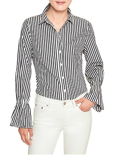 Petite Print Tailored Flare Cuff Shirt