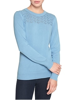 Petite Machine Washable Forever Yoke Crew Neck Sweater