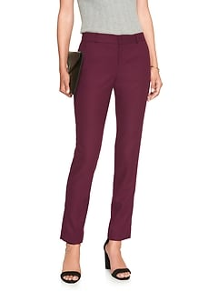 Petite Machine Washable Ryan Brushed Twill Burgundy Suit Pant
