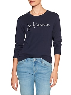 Petite Machine Washable Forever Embroidered Word Pullover Sweater