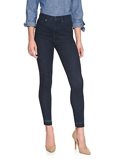 Petite Dark Wash High Rise Let Down-Hem Skinny Jean
