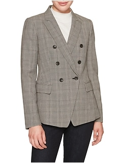 Machine Washable Plaid Double Breasted Cutaway Suit Blazer