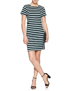 Stripe Textured Stretch Sheath Dress