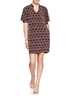 Print Tie-Neck Shift Dress
