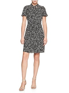 Print Knot Neck Asymmetrical Fit and Flare Dress