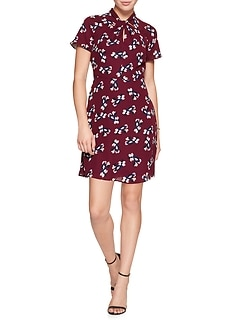 Petite Print Knot Neck Asymmetrical Fit and Flare Dress