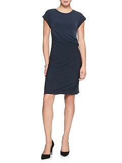 Petite Cap Sleeve Stretch Gathered Waist Dress