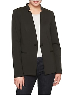 Petite Ponte Inverted Collar Blazer