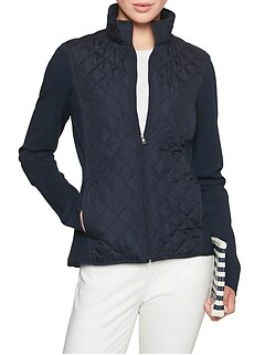 Petite Mix Media Quilted Jacket