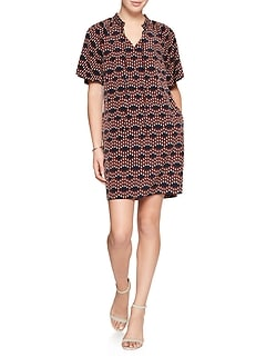 Petite Print Tie-Neck Shift Dress