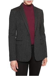Petite Machine Washable Charcoal Chalkstripe Long and Lean Ponte Suit Blazer