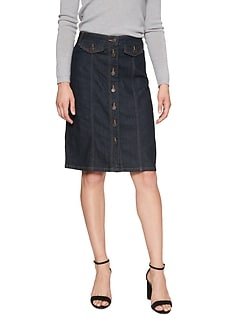 Button Front Denim Pencil Skirt