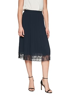 Lace Hem Pleated Midi Skirt