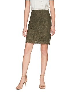Petite Lace Pencil Skirt