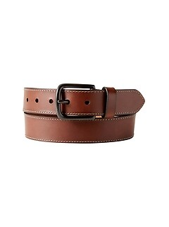Stitched Brown Leather Belt