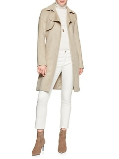 Machine Washable Vegan Suede Trench Coat