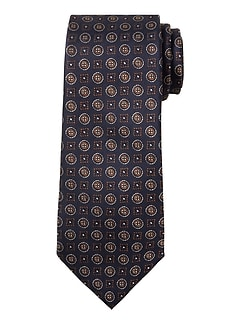 Anti-Stain Navy Medallion Tie