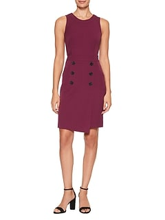 Petite Button Wrap Sheath Dress