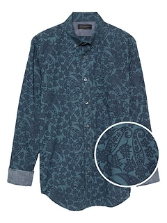 Slim-Fit Soft Wash Stretch Print Shirt