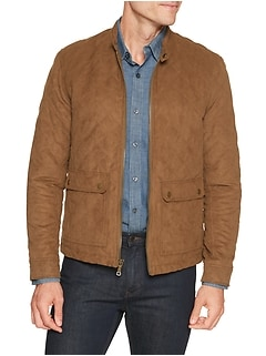 Quilted Vegan Suede Moto Jacket