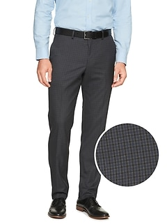 Slim-Fit Stretch Navy Check Trouser