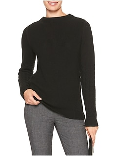 Mock Neck Cable Sleeve Sweater