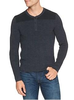 Contrast-Yoke Henley Sweater