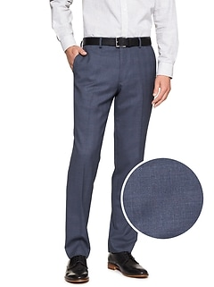 Standard-Fit Stretch Navy Plaid Trouser