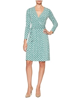Petite Print Mixed Stretch Wrap Dress