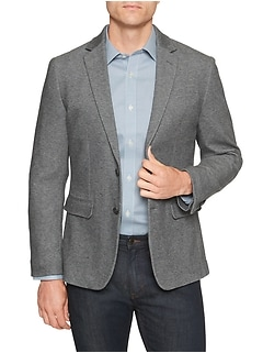 Slim-Fit Grey Texture Stretch Blazer